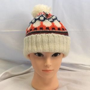 GAP Pom Winter Hat White Red Blue
